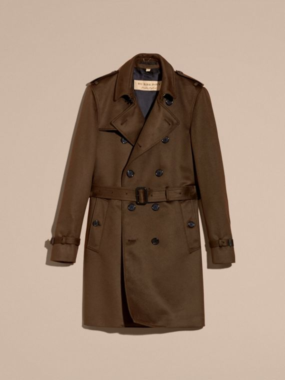 Cashmere Trench Coat Dark Military Khaki - cell image 3