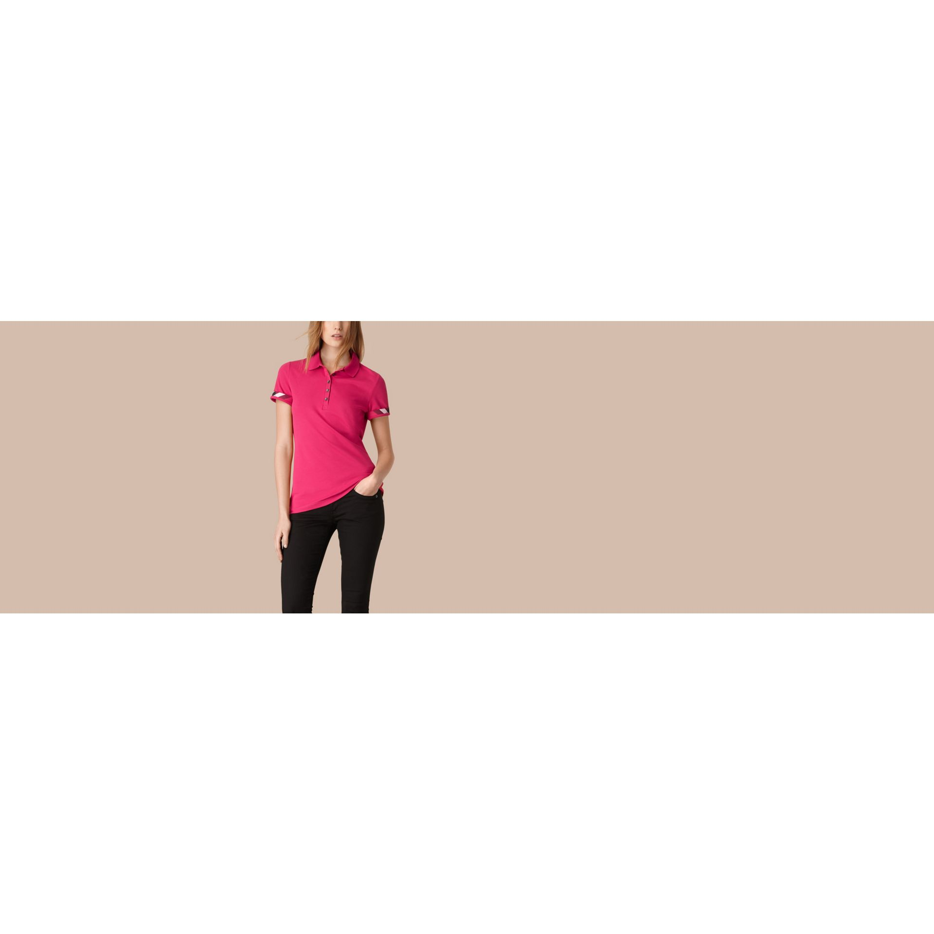 Check Trim Stretch Cotton Piqué Polo Shirt Bright Hibiscus - gallery image 4