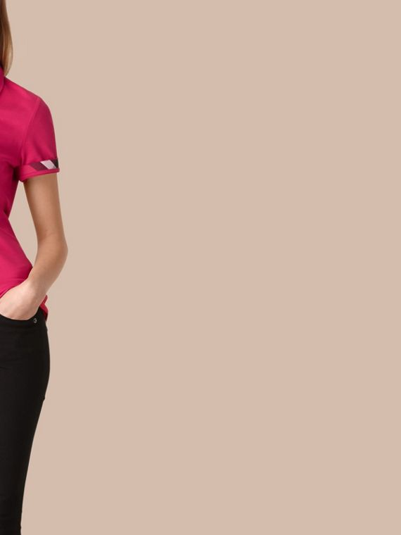 Check Trim Stretch Cotton Piqué Polo Shirt Bright Hibiscus - cell image 3