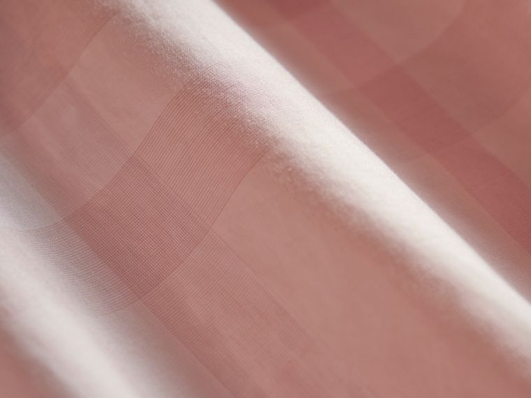 Peter Pan Collar Pintuck Detail Check Cotton Top in Ice Pink | Burberry - cell image 1