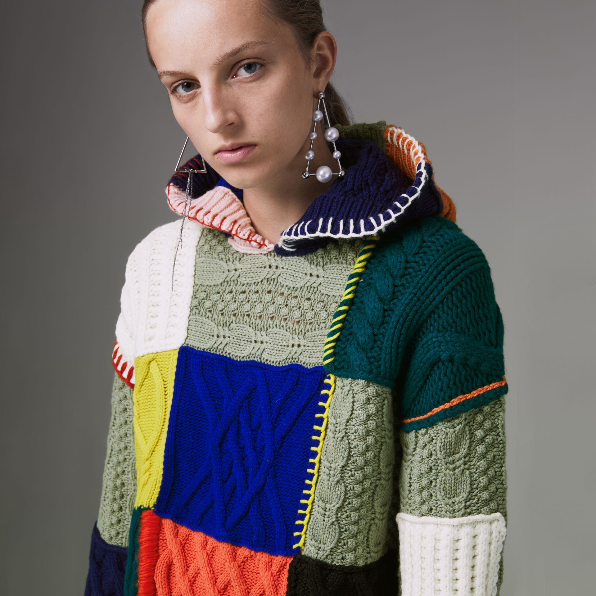 Patchwork Wool Cotton Blend Hoodie in Multicolour - Women | Burberry - gallery image 1