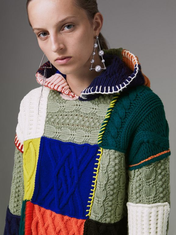 Patchwork Wool Cotton Blend Hoodie in Multicolour - Women | Burberry - cell image 1