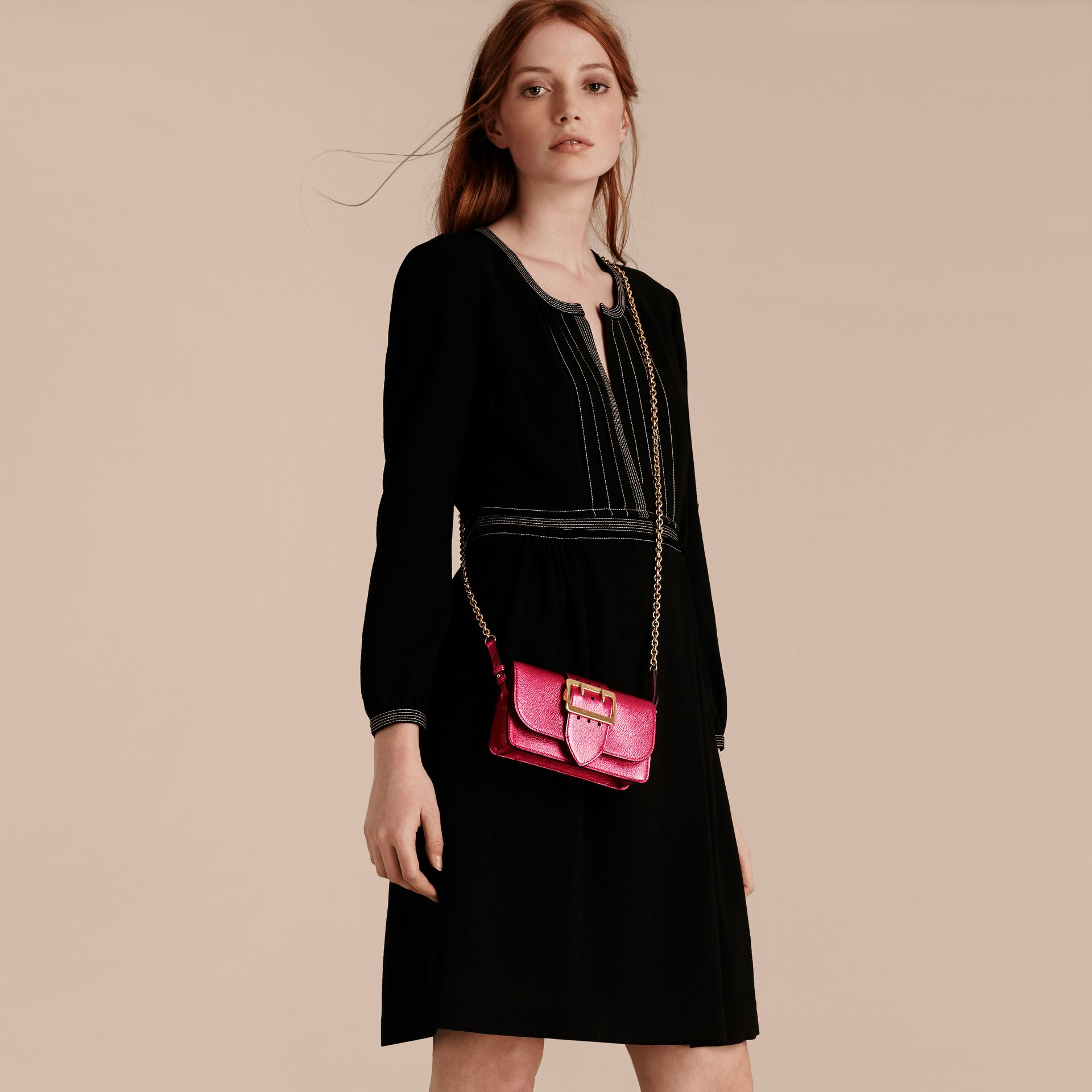 Bright pink The Mini Buckle Bag in Metallic Grainy Leather Bright Pink - gallery image 3
