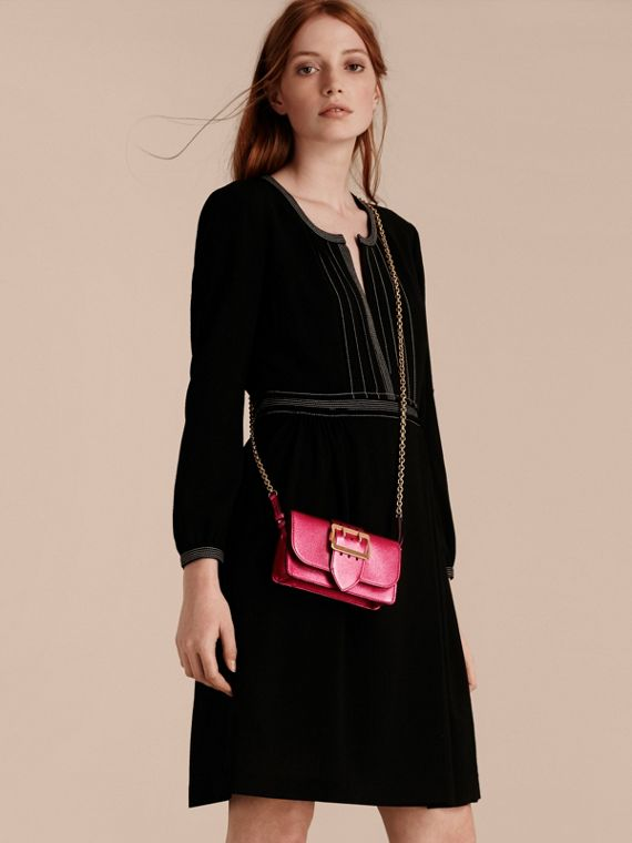 The Mini Buckle Bag in Metallic Grainy Leather in Bright Pink - cell image 2