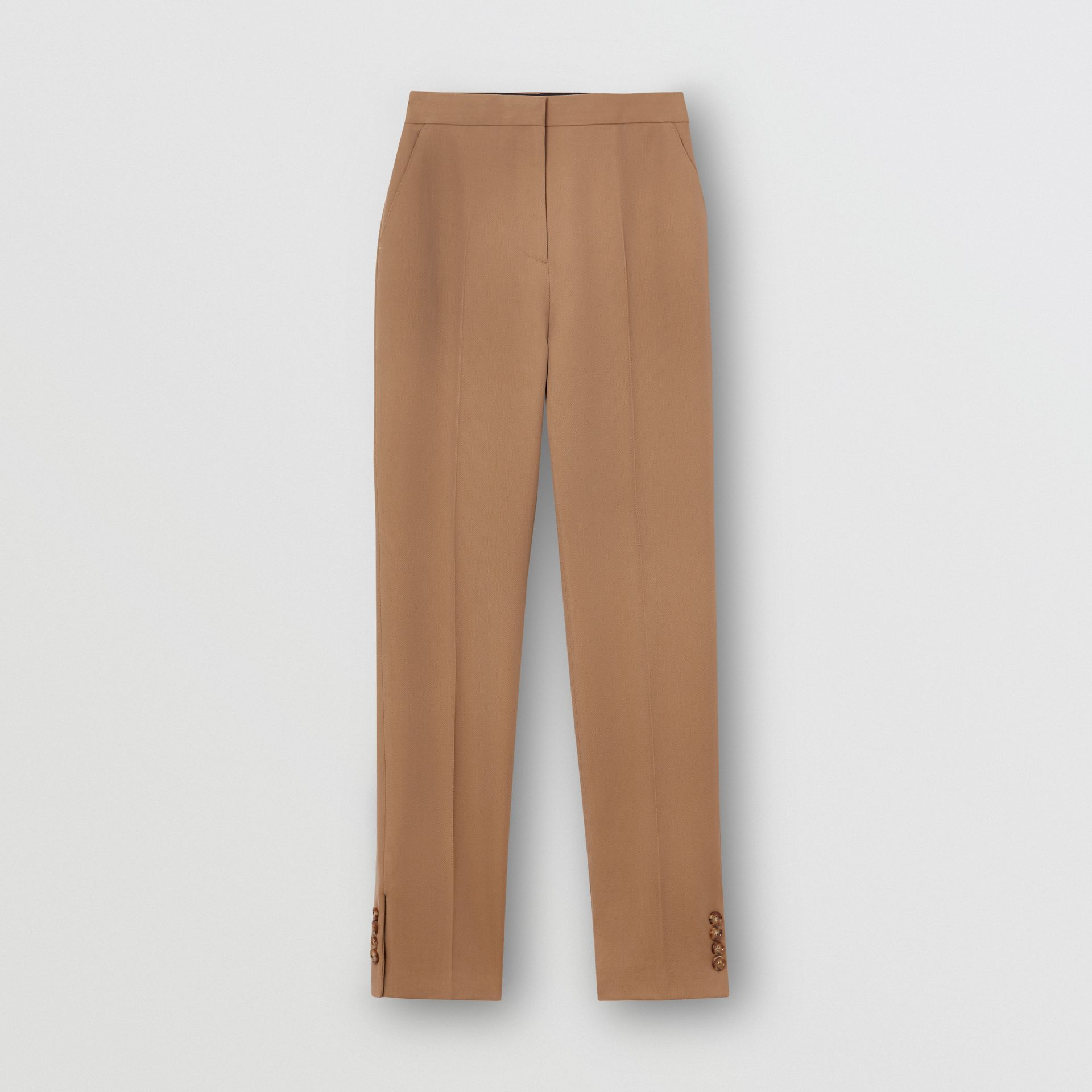 Straight Fit Button Detail Wool Blend Tailored Trousers in Camel - Women | Burberry - gallery image 3