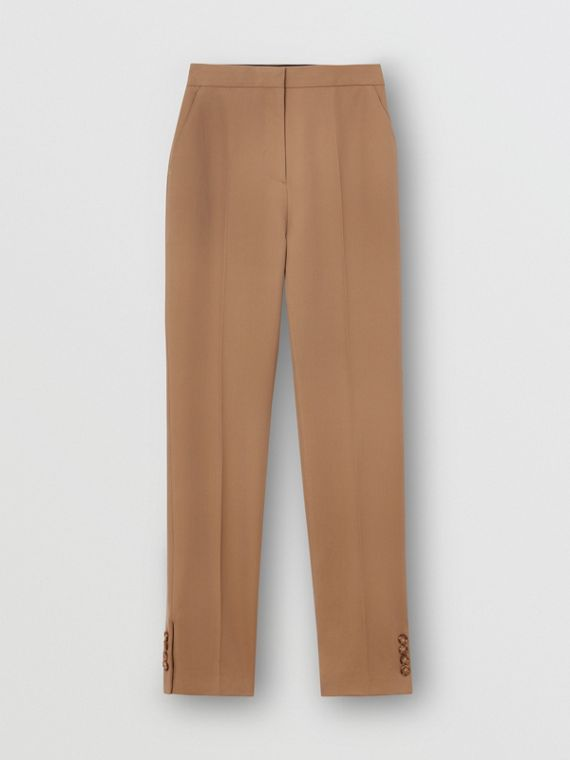 Straight Fit Button Detail Wool Blend Tailored Trousers in Camel