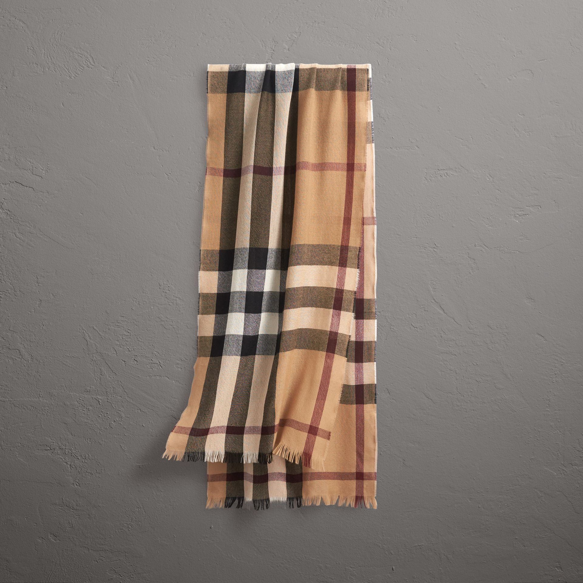 Lightweight Check Wool Cashmere Scarf in Camel | Burberry Singapore - gallery image 0
