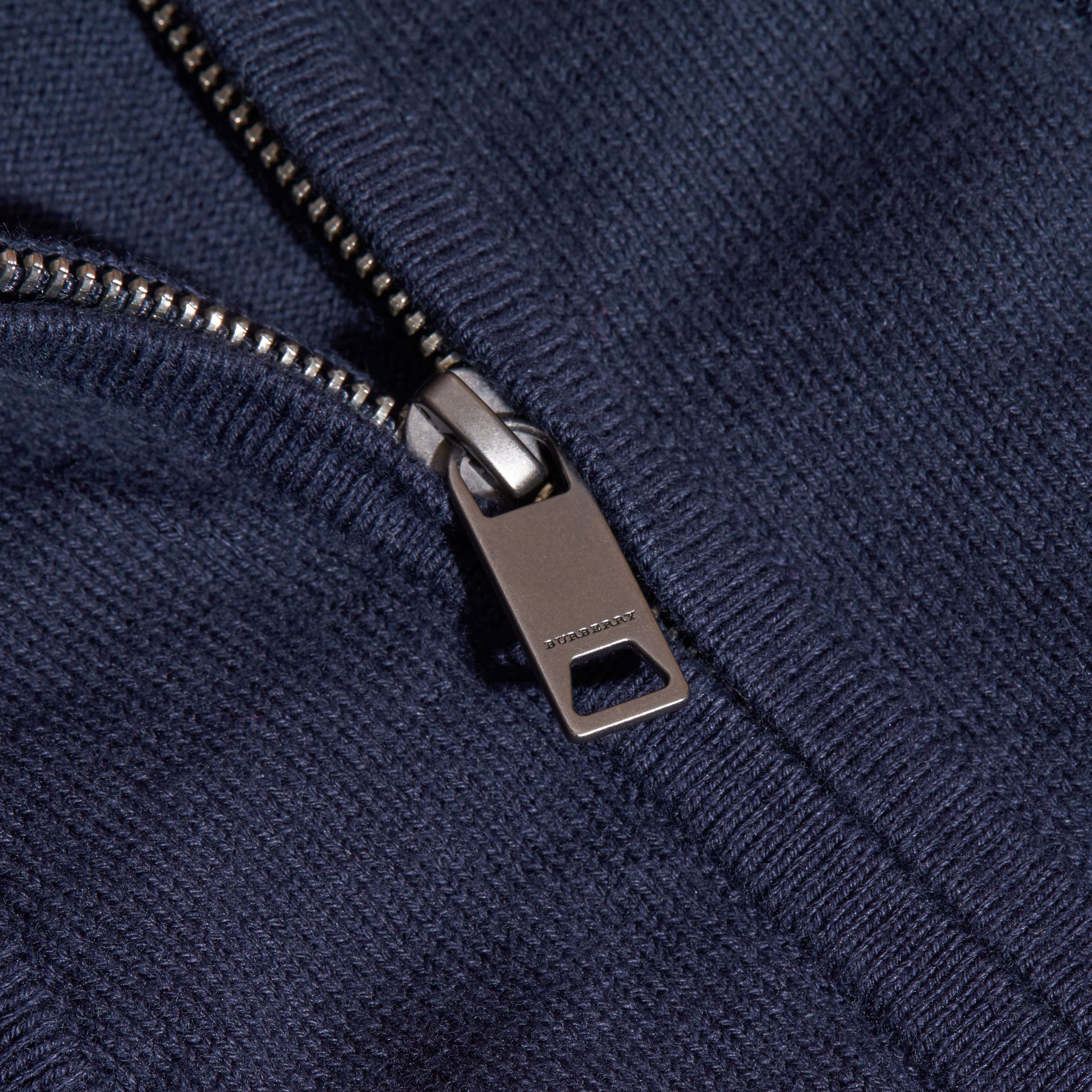 Check Detail Cotton Cardigan in Navy | Burberry - gallery image 1