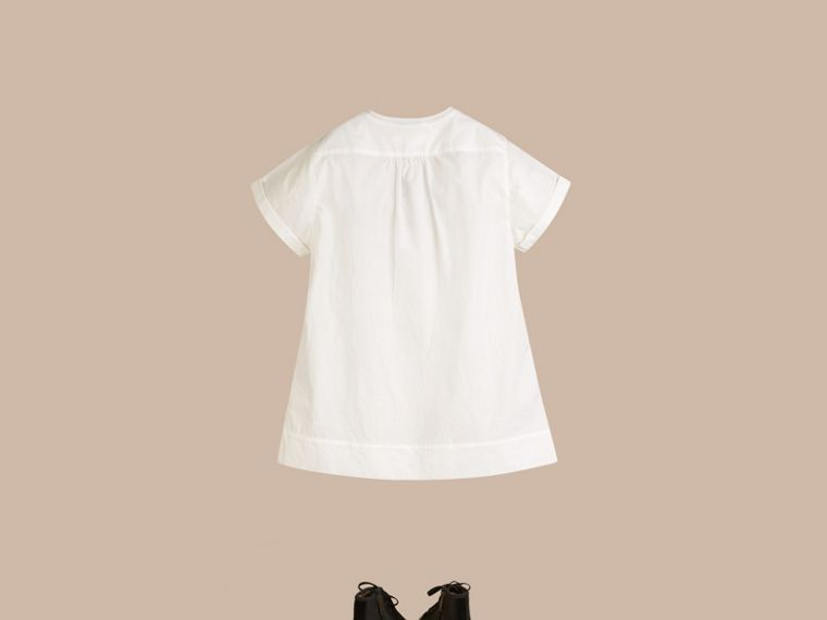 Pintuck Detail Cotton Dress in White - Girl | Burberry - cell image 2