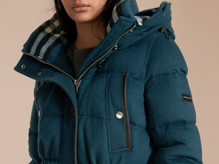 Down-filled Cashmere Coat with Detachable Fur Trim Mineral Blue - cell image 4