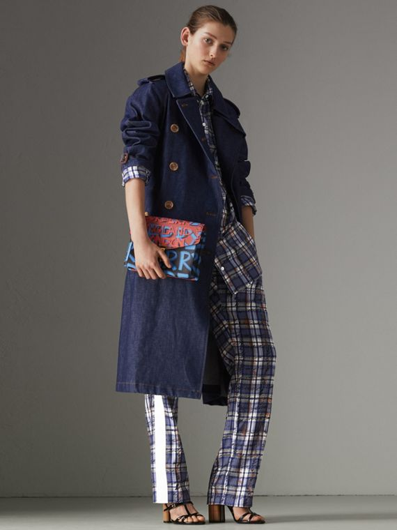 Denim Trench Coat in Dark Cobalt