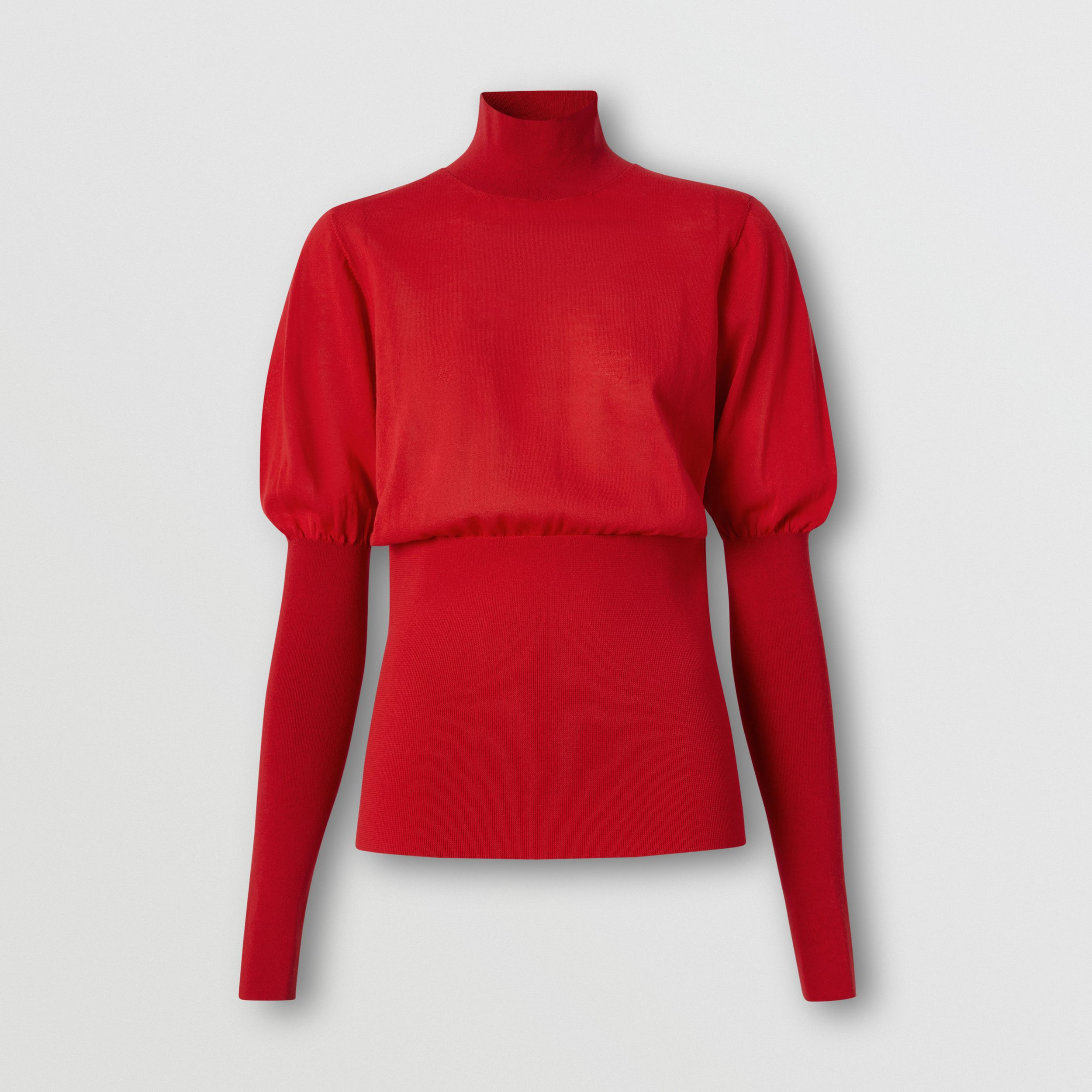 Puff-sleeve Knit Cotton Blend Turtleneck Sweater in Bright Red - Women | Burberry - 4