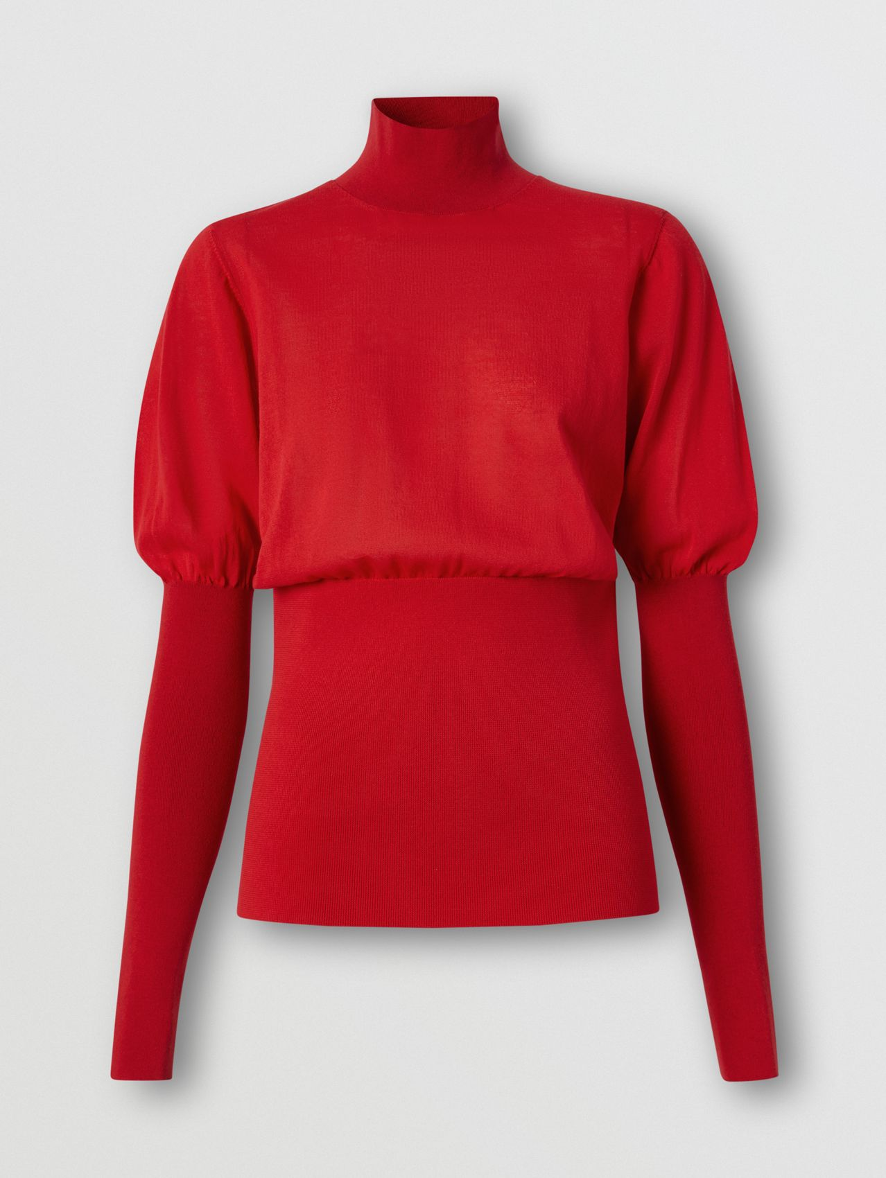 Puff-sleeve Knit Cotton Blend Turtleneck Sweater in Bright Red