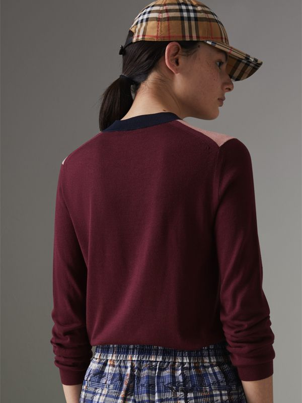 Colour Block Silk Cashmere Sweater in Pink Apricot - Women | Burberry United Kingdom - cell image 2