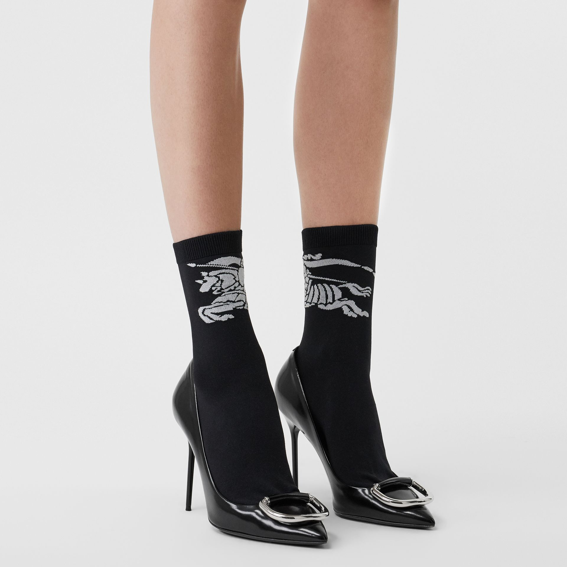 Equestrian Knight Intarsia Socks in Black/white | Burberry - gallery image 2