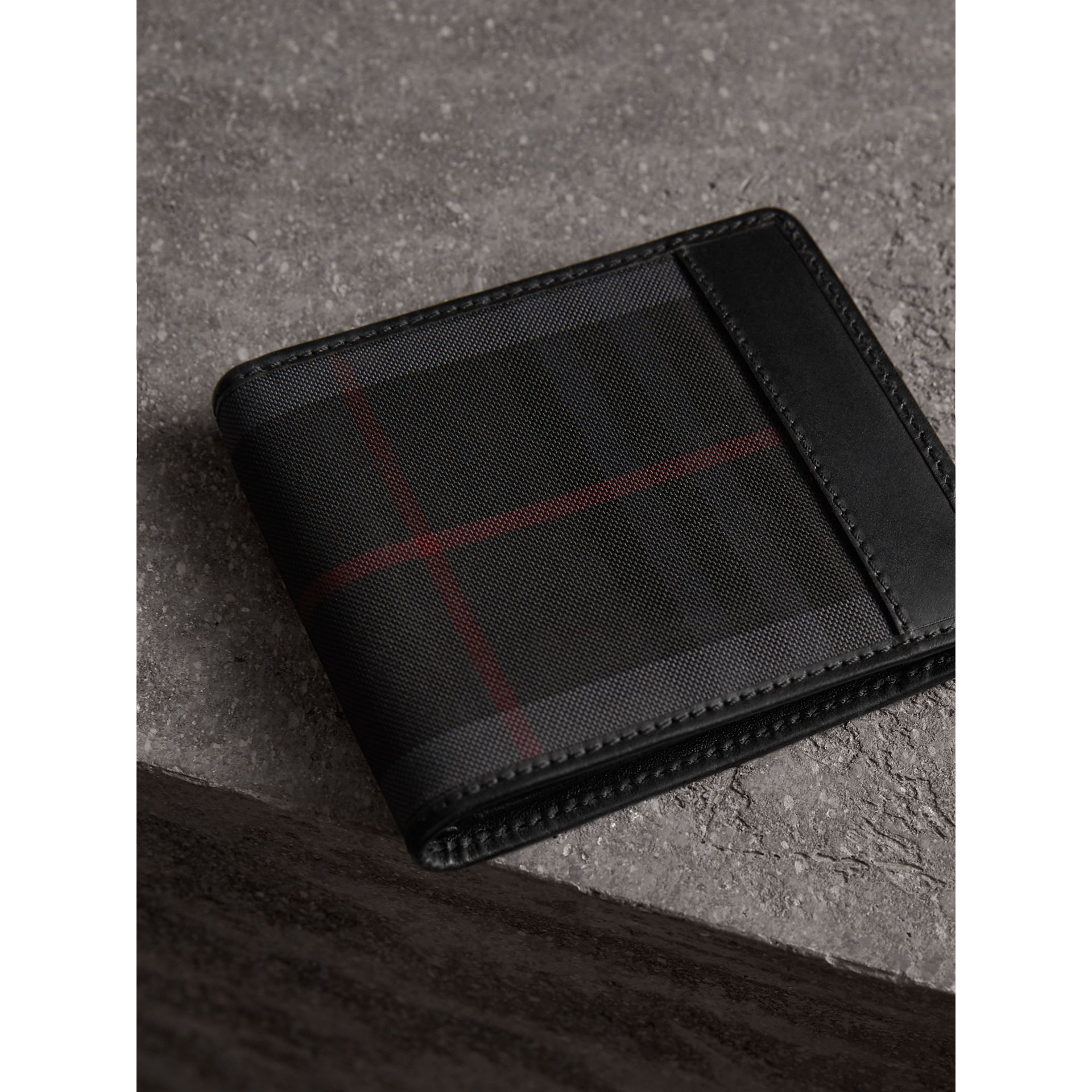 Horseferry Check International Bifold Wallet in Charcoal/black - Men | Burberry - gallery image 3