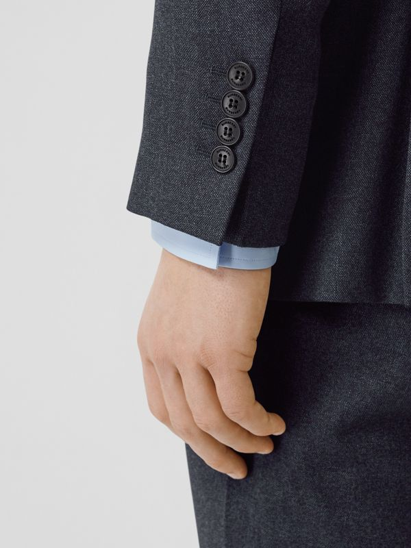 English Fit Sharkskin Wool Suit in Bright Navy Melange - Men | Burberry United Kingdom - cell image 3