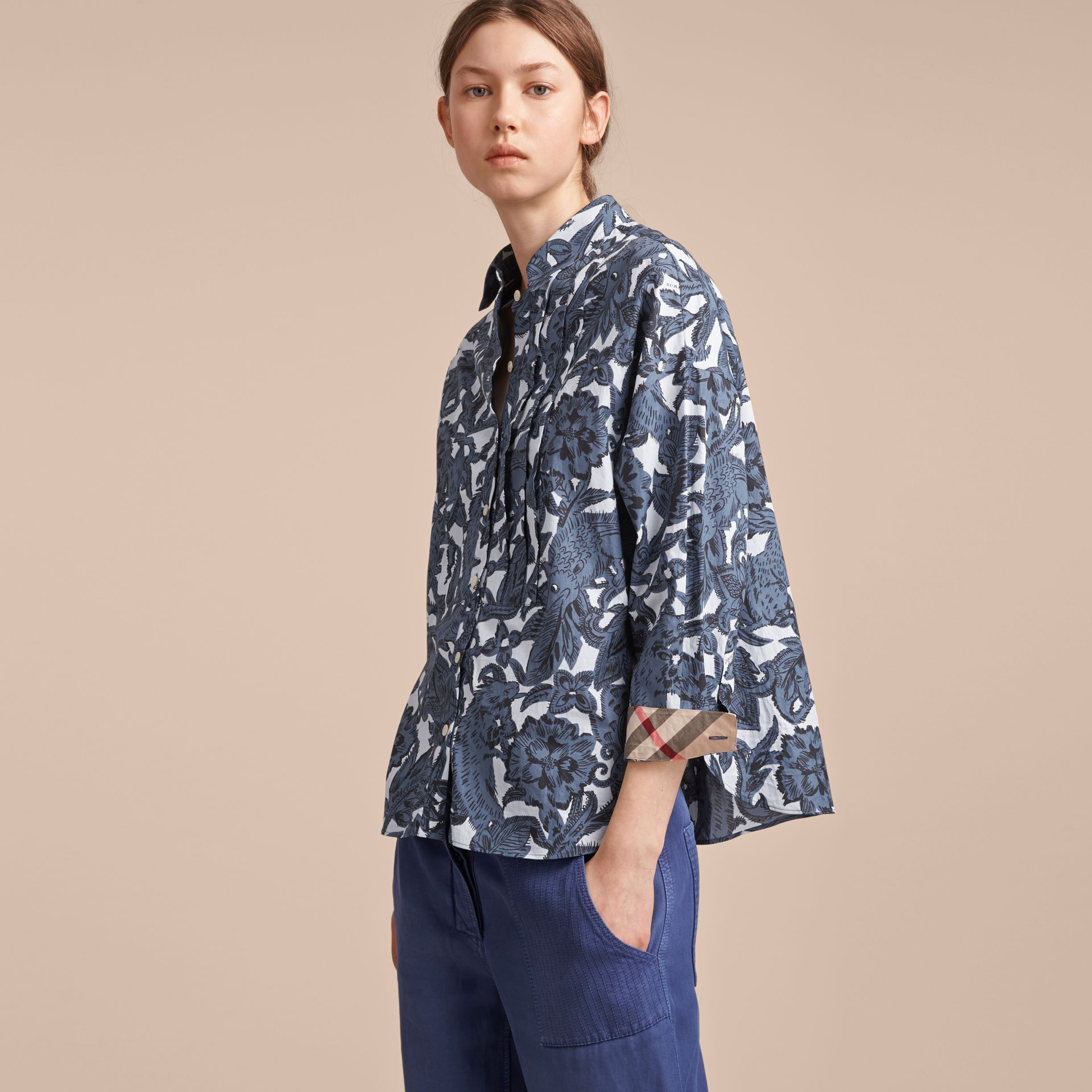 Pleated Bib Beasts Print Cotton Shirt in Stone Blue - Women | Burberry Australia - gallery image 6