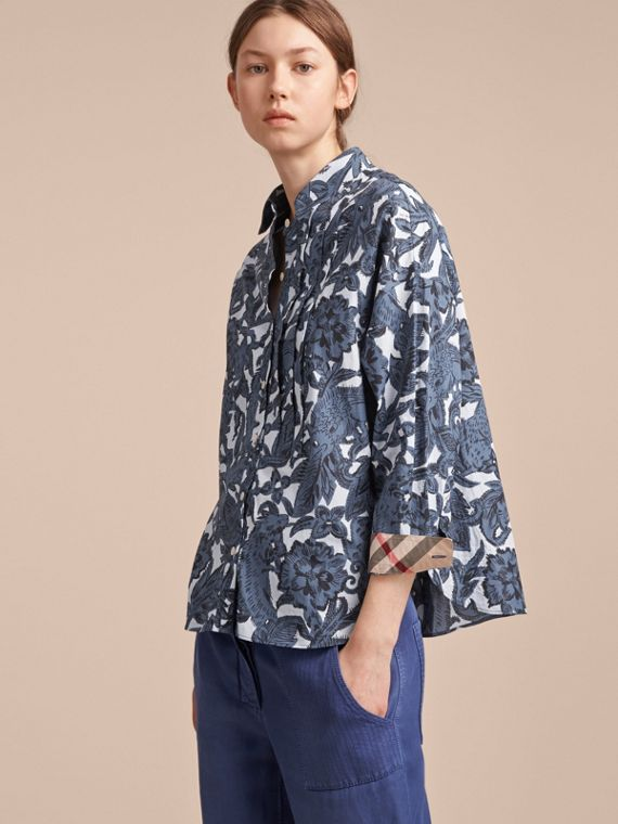 Pleated Bib Beasts Print Cotton Shirt - Women | Burberry Singapore