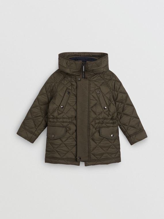 Diamond Quilted Hooded Jacket in Oregano