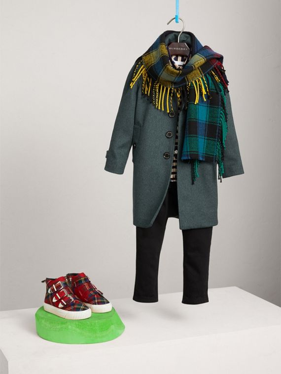 Cappotto car coat in cashmere con maniche raglan (Verde Bottiglia Brillante)