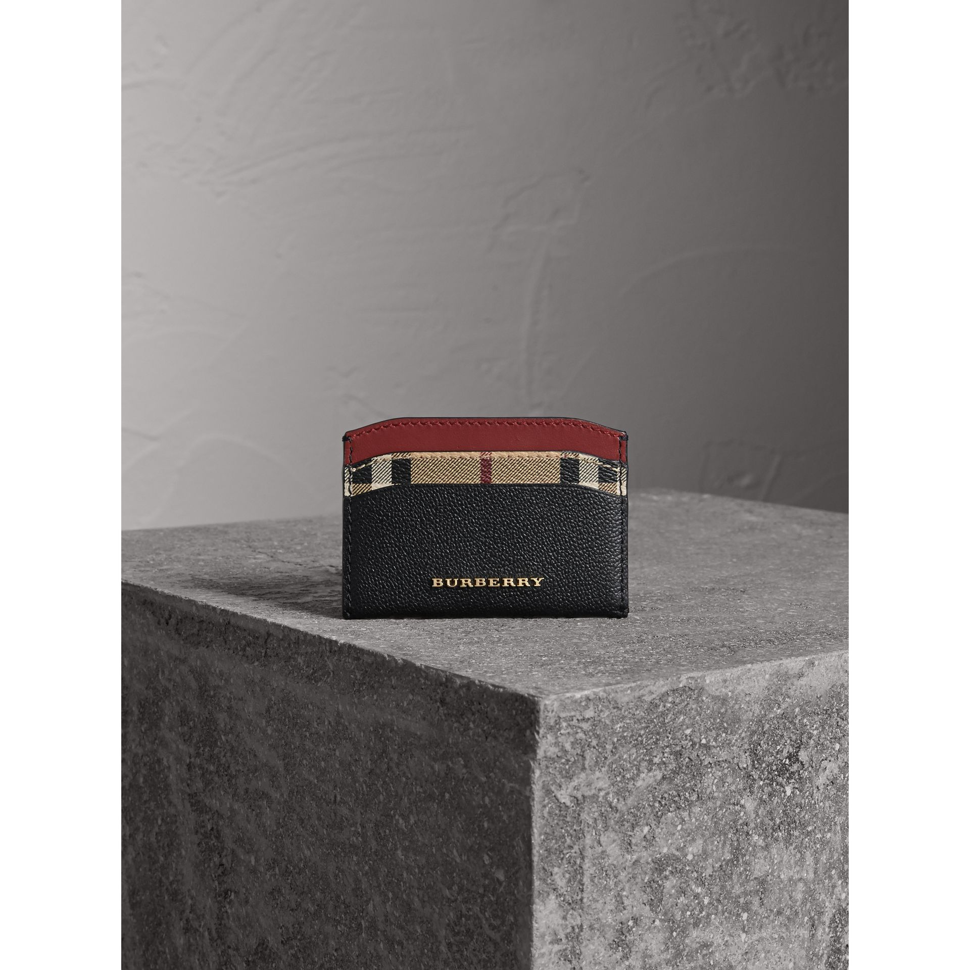 Colour Block Leather and Haymarket Check Card Case in Black/multicolour - Women | Burberry - gallery image 2