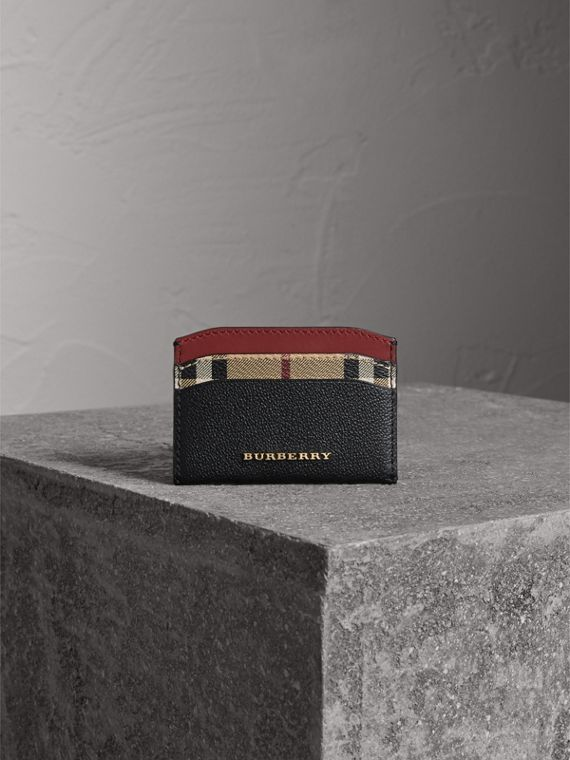 Colour Block Leather and Haymarket Check Card Case in Black/multicolour - Women | Burberry Hong Kong - cell image 2
