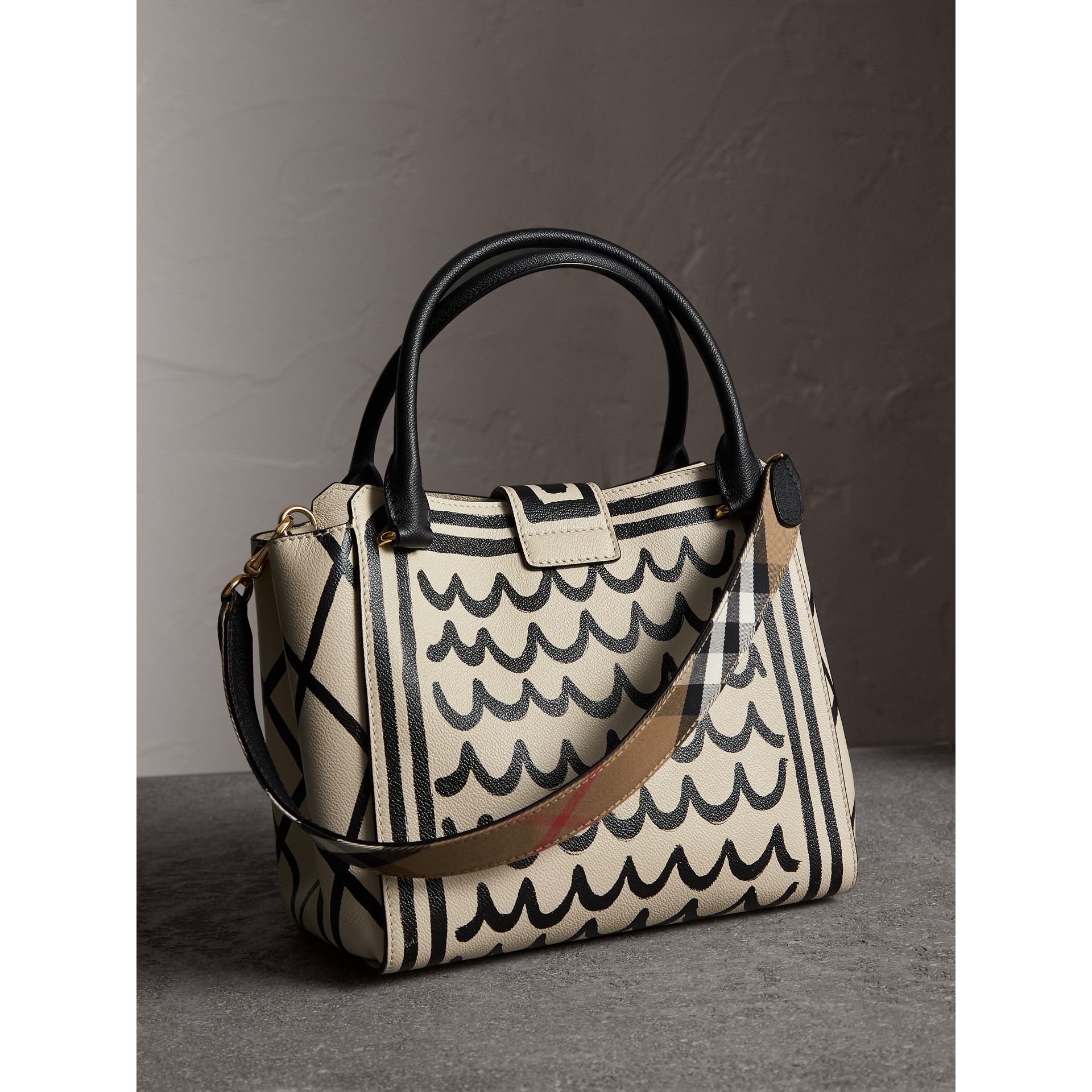 The Medium Buckle Tote in Trompe L'oeil Print Leather in Limestone - Women | Burberry - gallery image 5