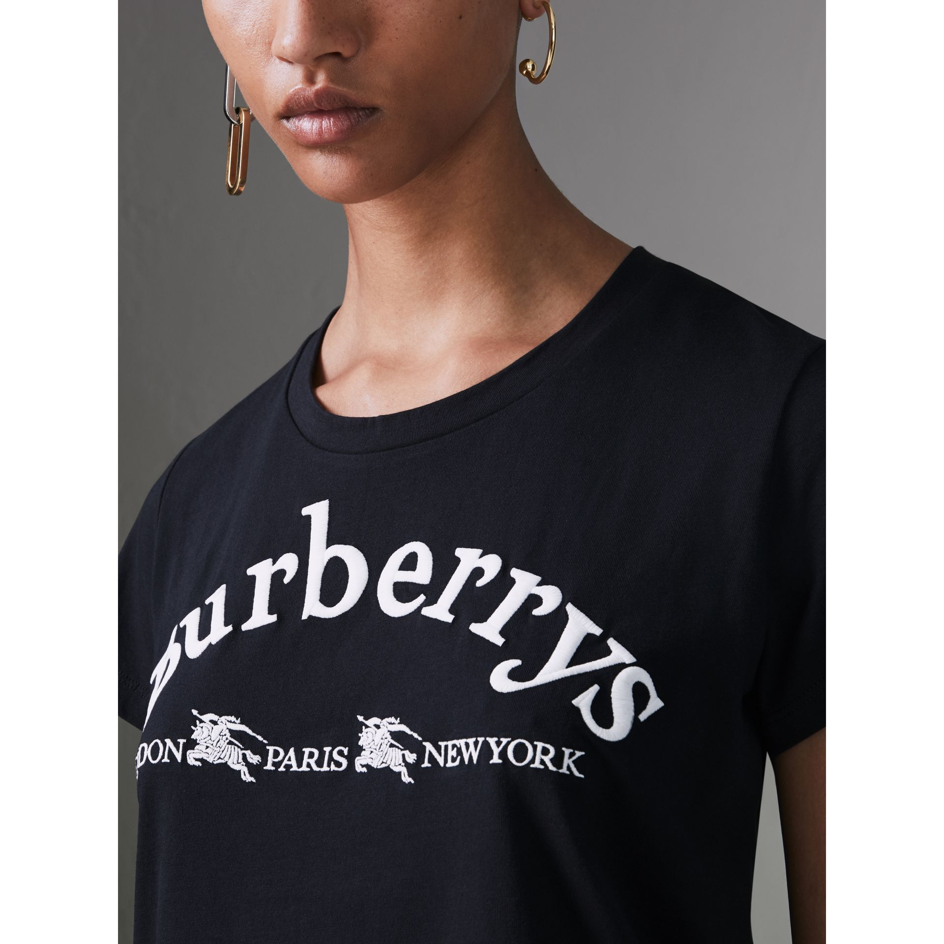 Embroidered Archive Logo Cotton T-shirt in Navy - Women | Burberry - gallery image 1