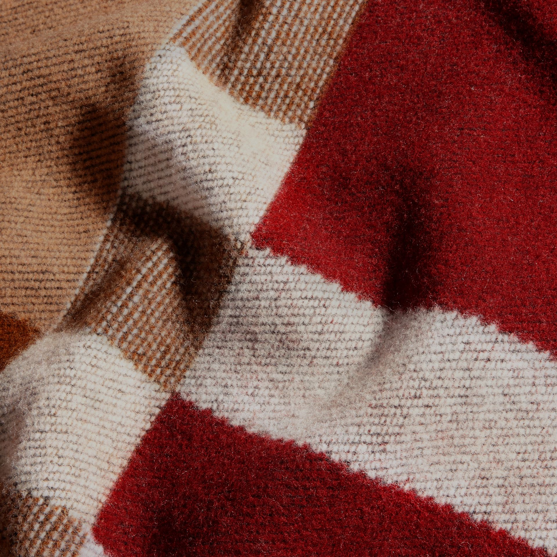Camel Check Wool Cashmere Poncho - gallery image 5