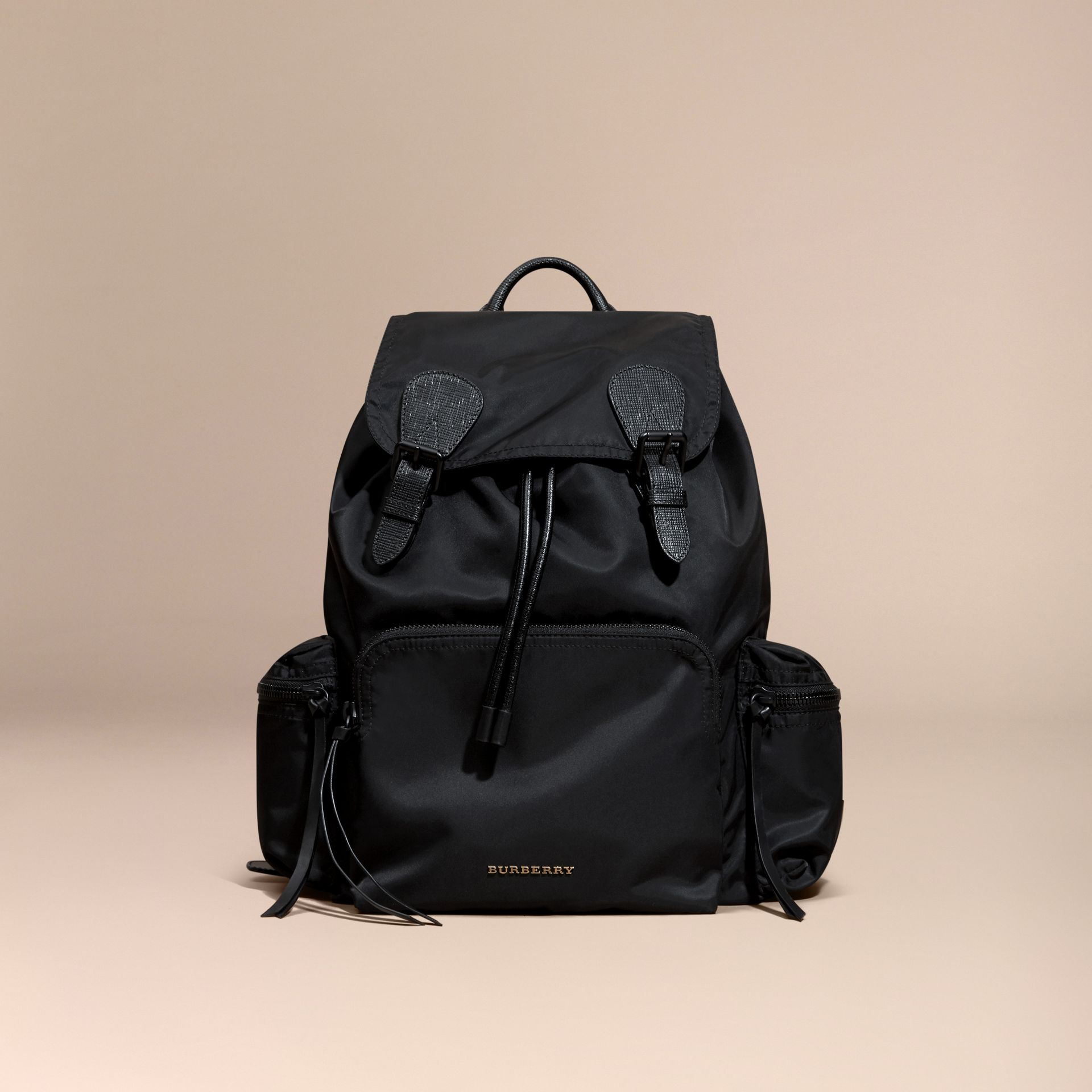The Large Rucksack in Technical Nylon and Leather in Black | Burberry - gallery image 1