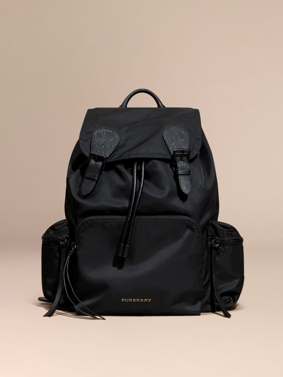 The Large Rucksack in Technical Nylon and Leather in Black | Burberry Canada