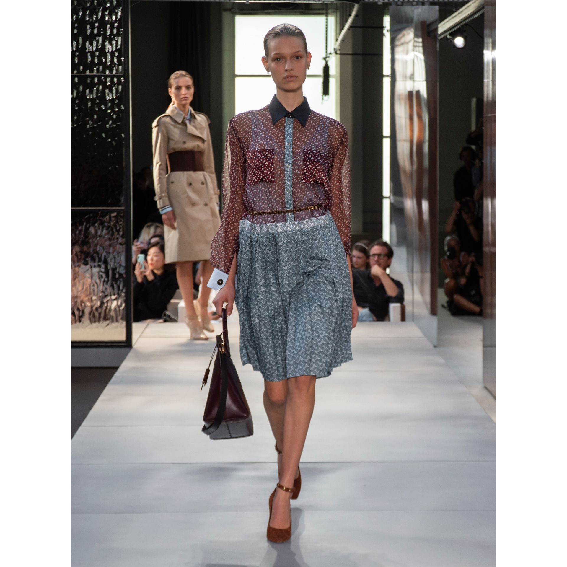Monogram Print Silk Chiffon Pleated Shirt Dress in Oxblood - Women | Burberry Australia - gallery image 6