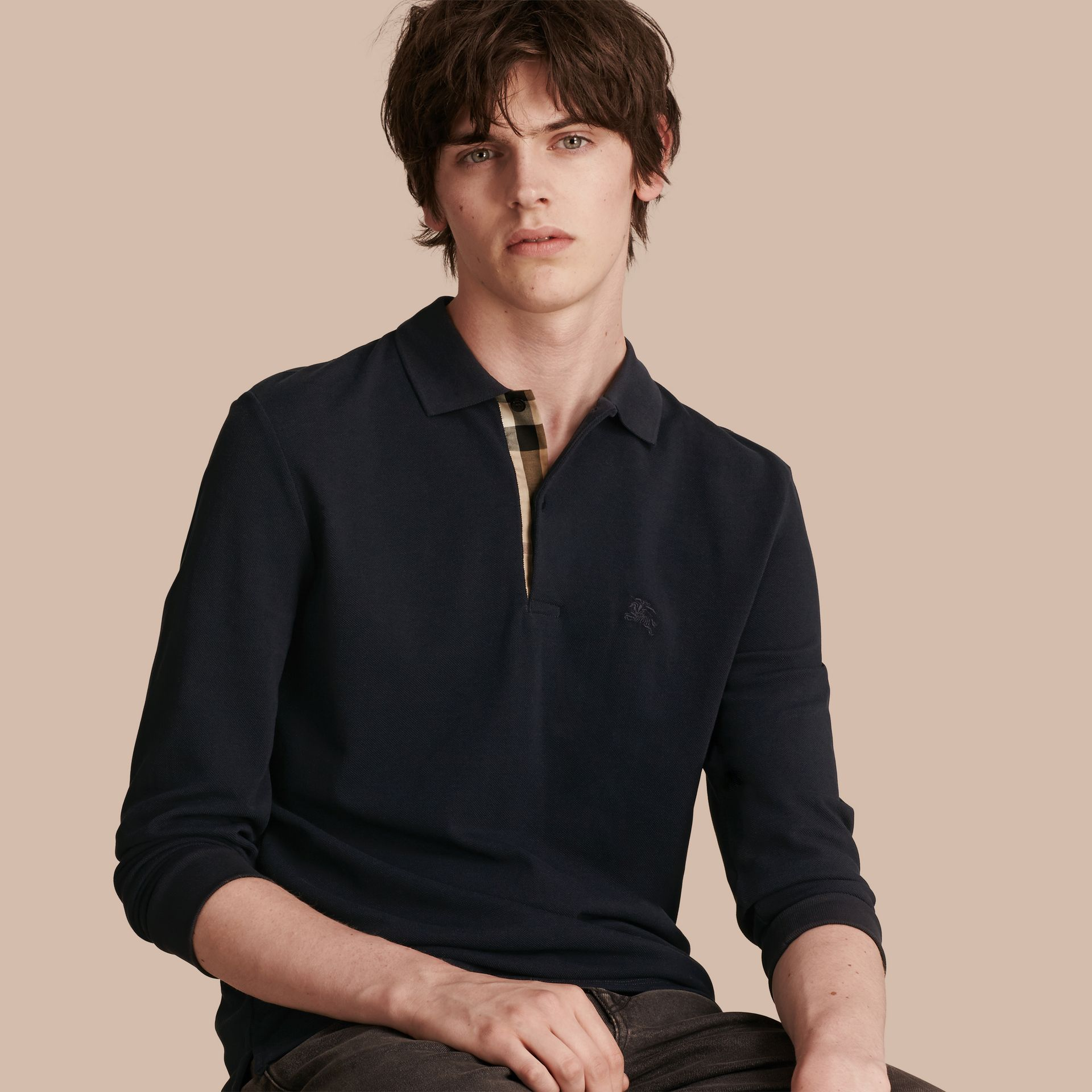 Check Placket Long Sleeve Polo Shirt in Dark Navy - gallery image 1
