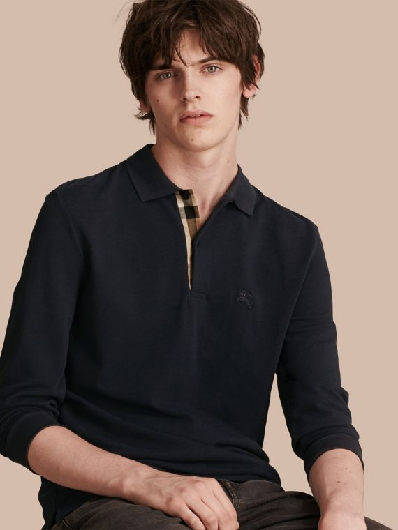 Check Placket Long Sleeve Polo Shirt Dark Navy