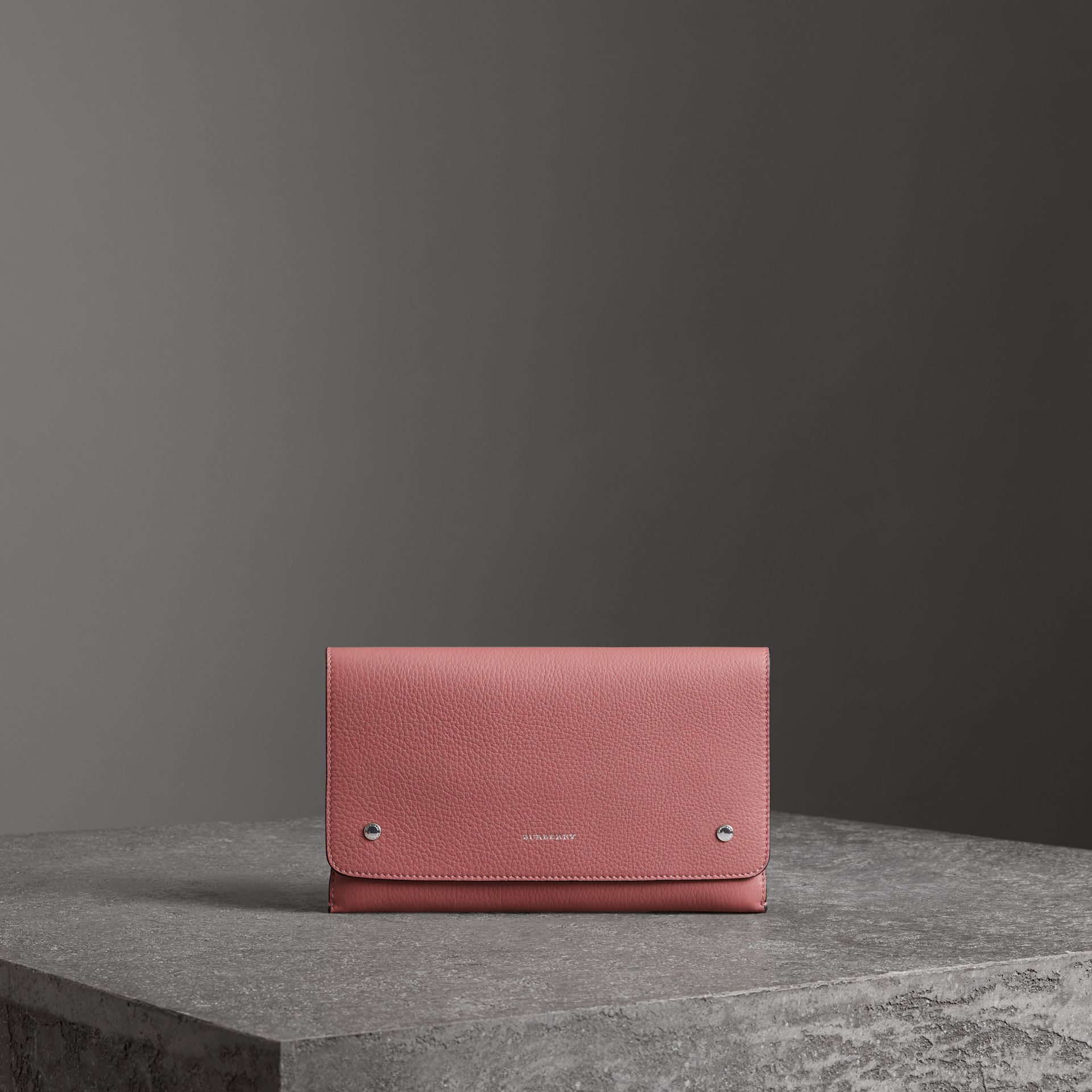 Two-tone Leather Wristlet Clutch in Dusty Rose - Women | Burberry - gallery image 0