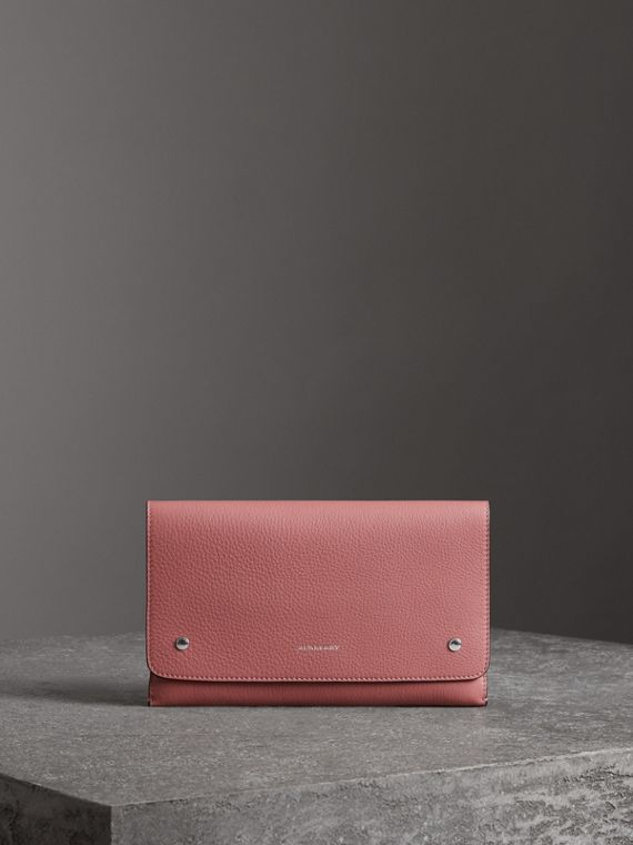 Two-tone Leather Wristlet Clutch in Dusty Rose