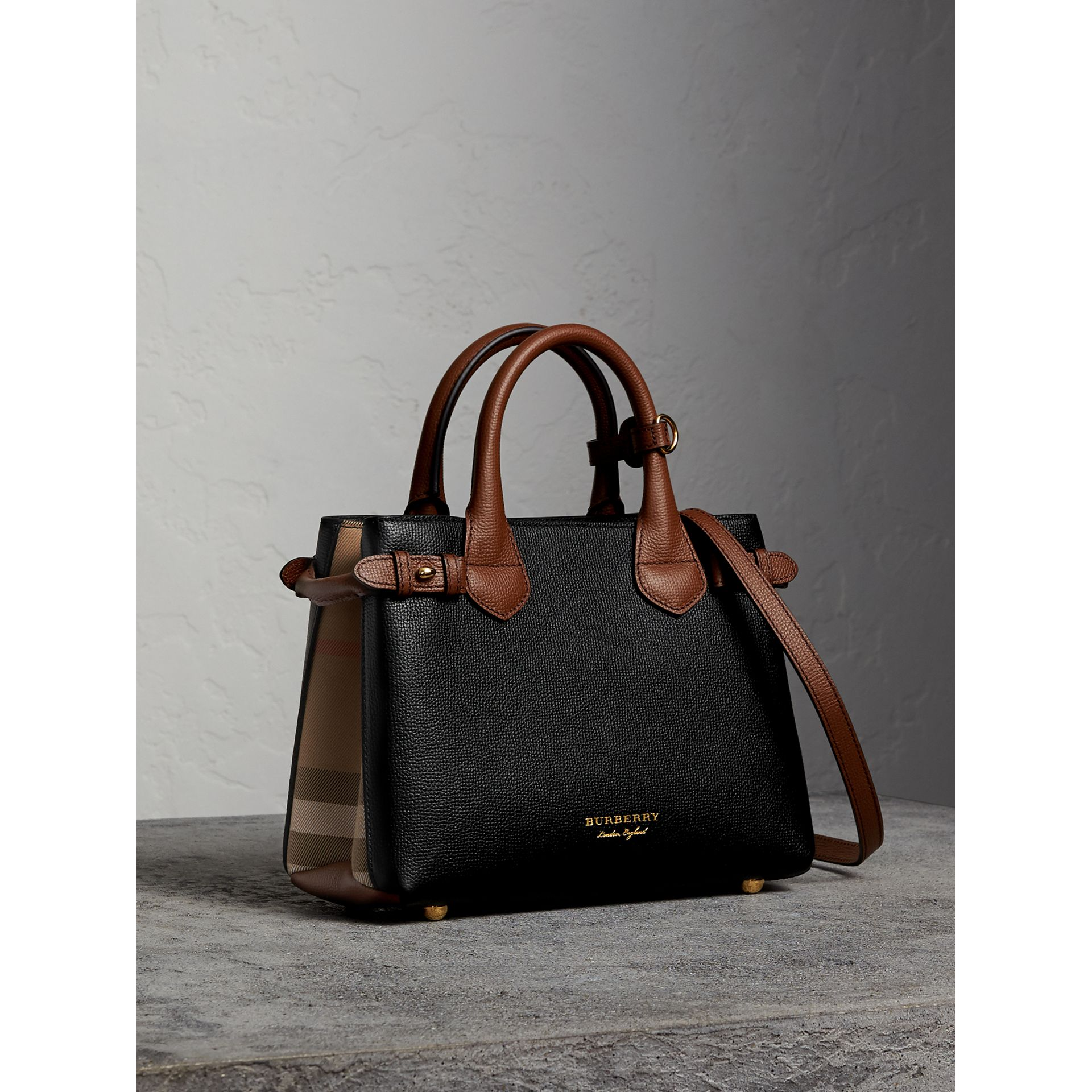 The Small Banner in Leather and House Check in Black/tan - Women | Burberry - gallery image 1