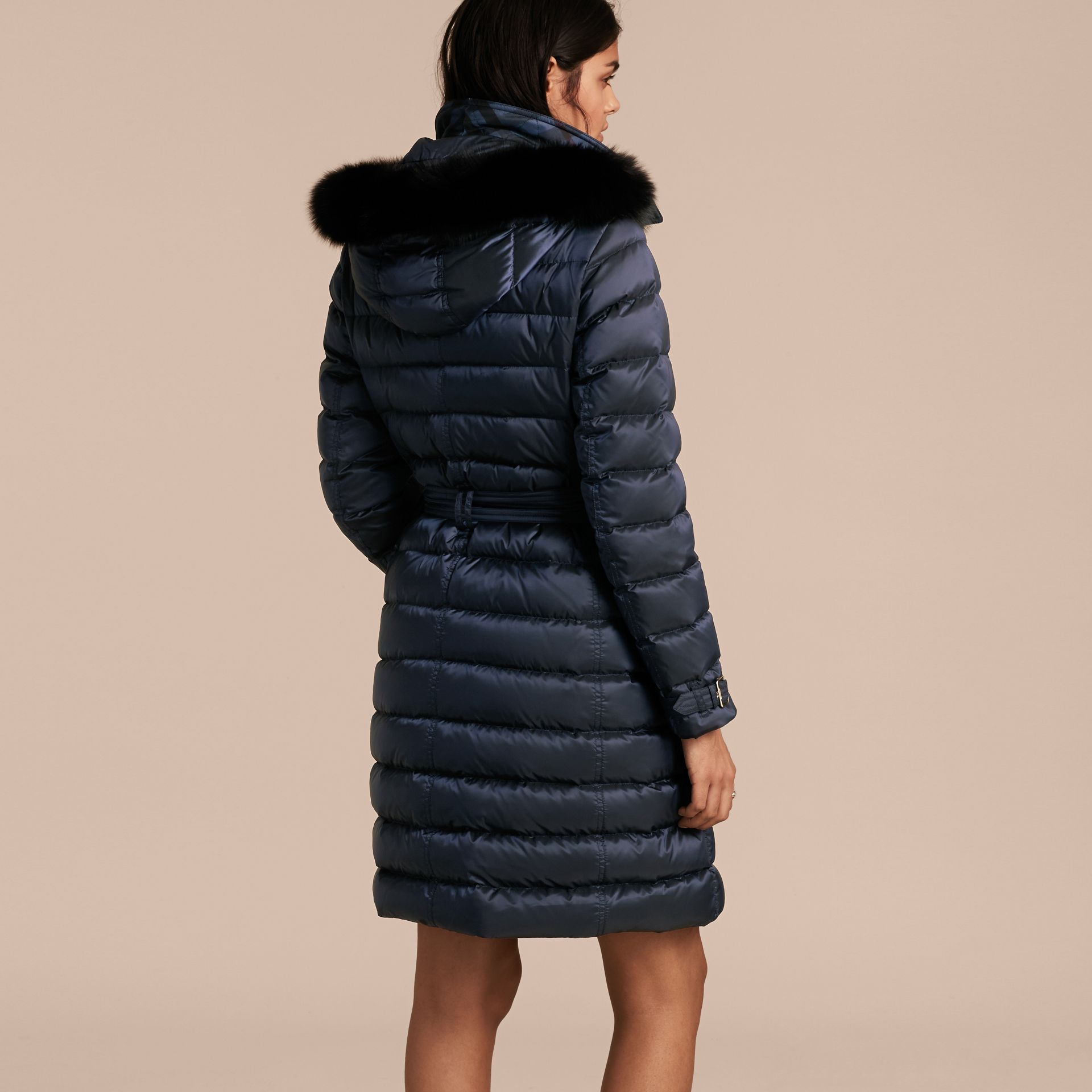 Down-filled Coat with Fox Fur Trim Hood in Navy - Women | Burberry - gallery image 3