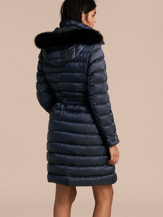 Down-filled Coat with Fox Fur Trim Hood in Navy - Women | Burberry - cell image 2