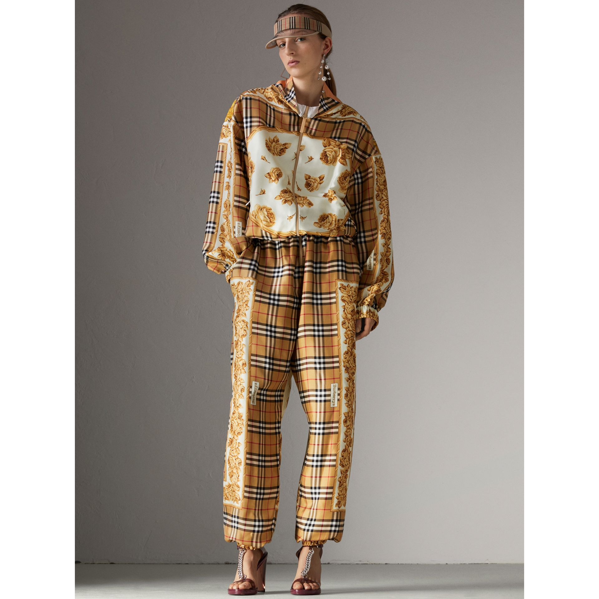 Vintage Check and Archive Scarf Print Jumpsuit in Antique Yellow - Women | Burberry United Kingdom - gallery image 5