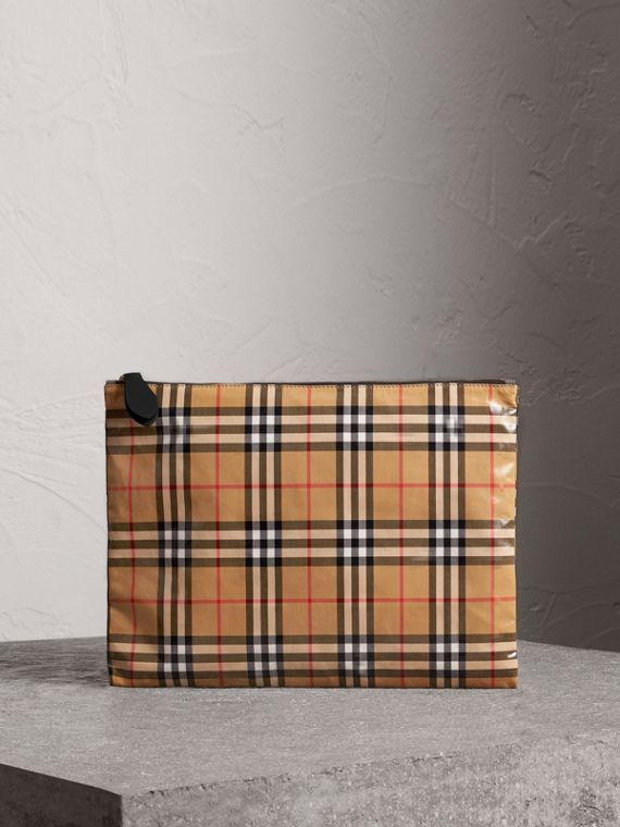 Large Coated Vintage Check Pouch in Black