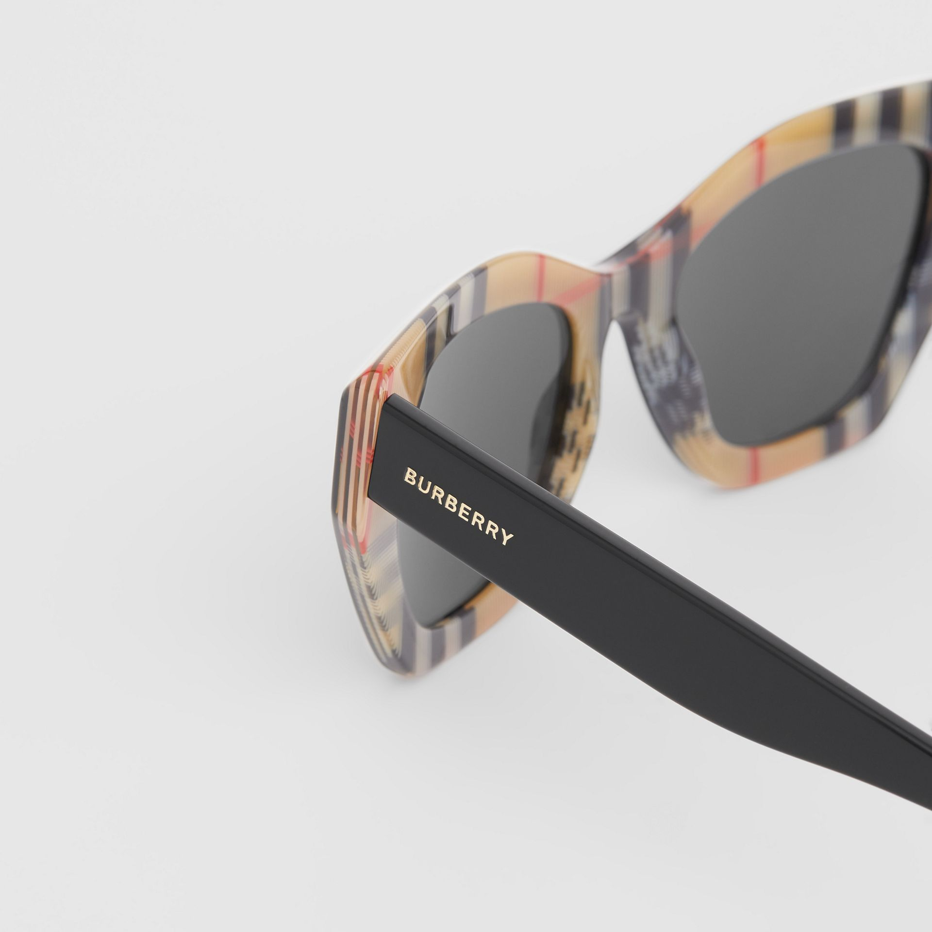Vintage Check Detail Butterfly Frame Sunglasses in Black/archive Beige - Women | Burberry - gallery image 1