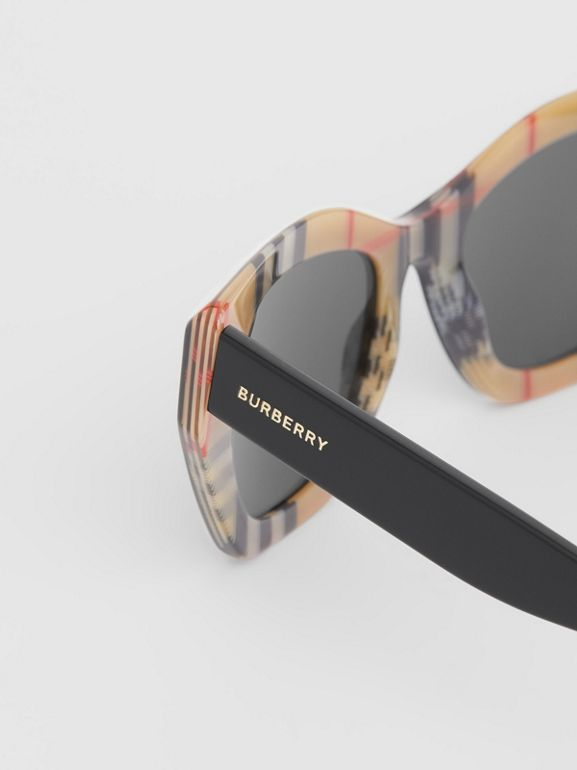 Vintage Check Detail Butterfly Frame Sunglasses in Black/archive Beige - Women | Burberry United Kingdom - cell image 1