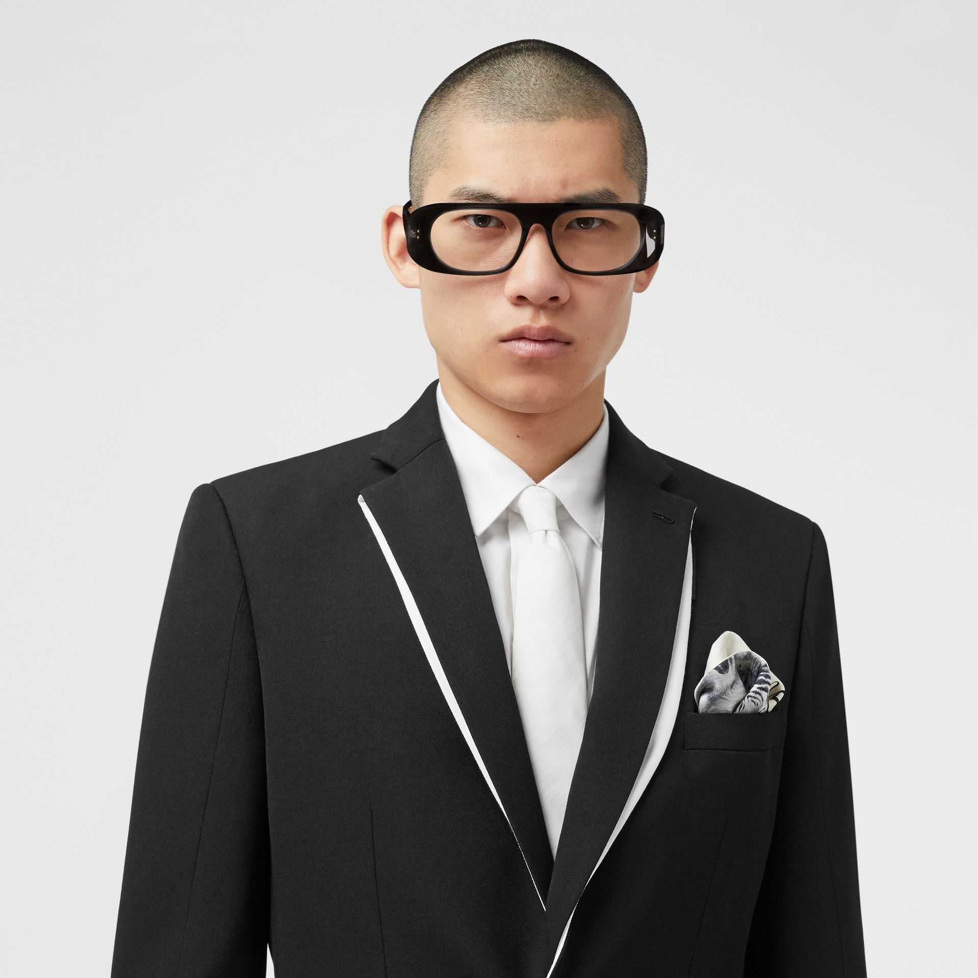 Classic Cut Silk Moire Jacquard Tie in White - Men | Burberry - gallery image 2
