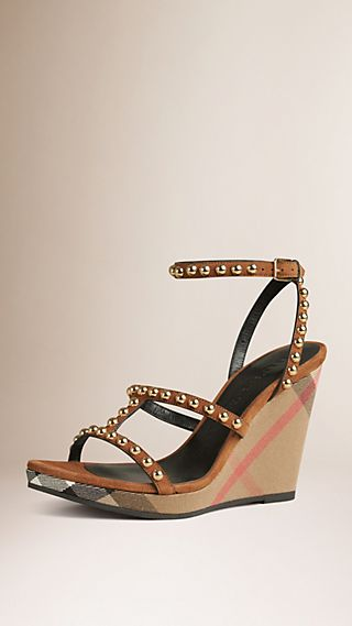 Studded House Check and Leather Platform Wedges