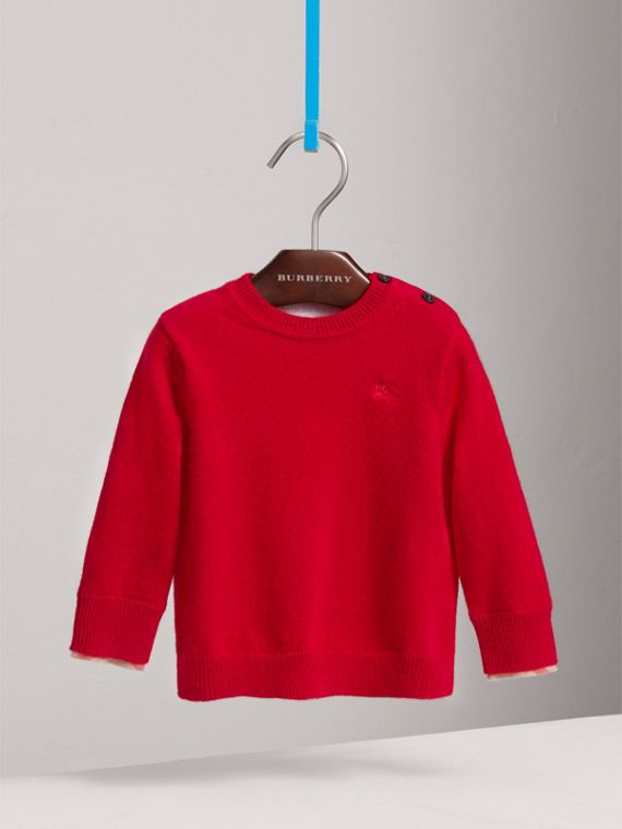 Check Cuff Cashmere Sweater in Parade Red | Burberry Australia - cell image 2
