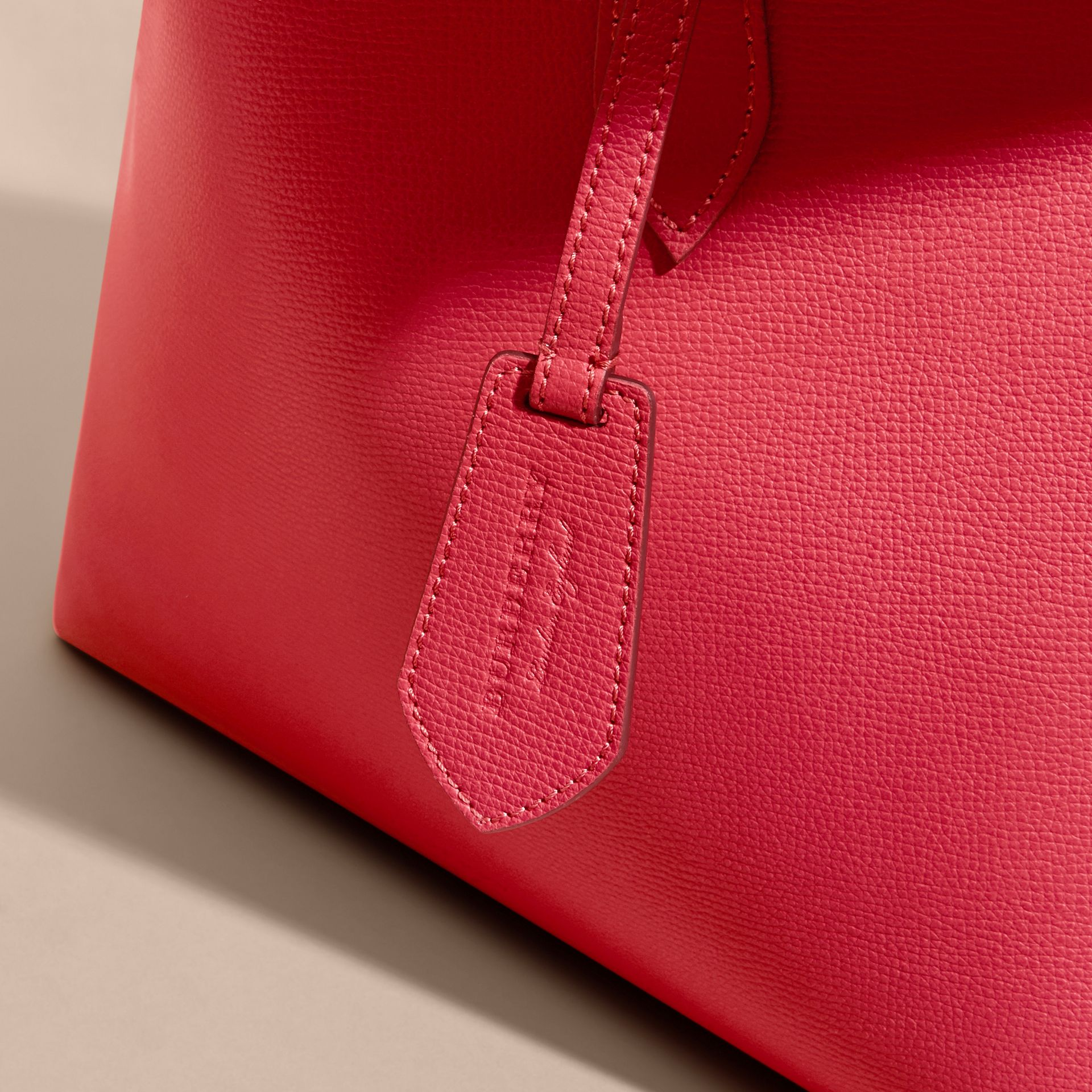 The Medium Reversible Tote in Haymarket Check and Leather Coral Red - gallery image 7
