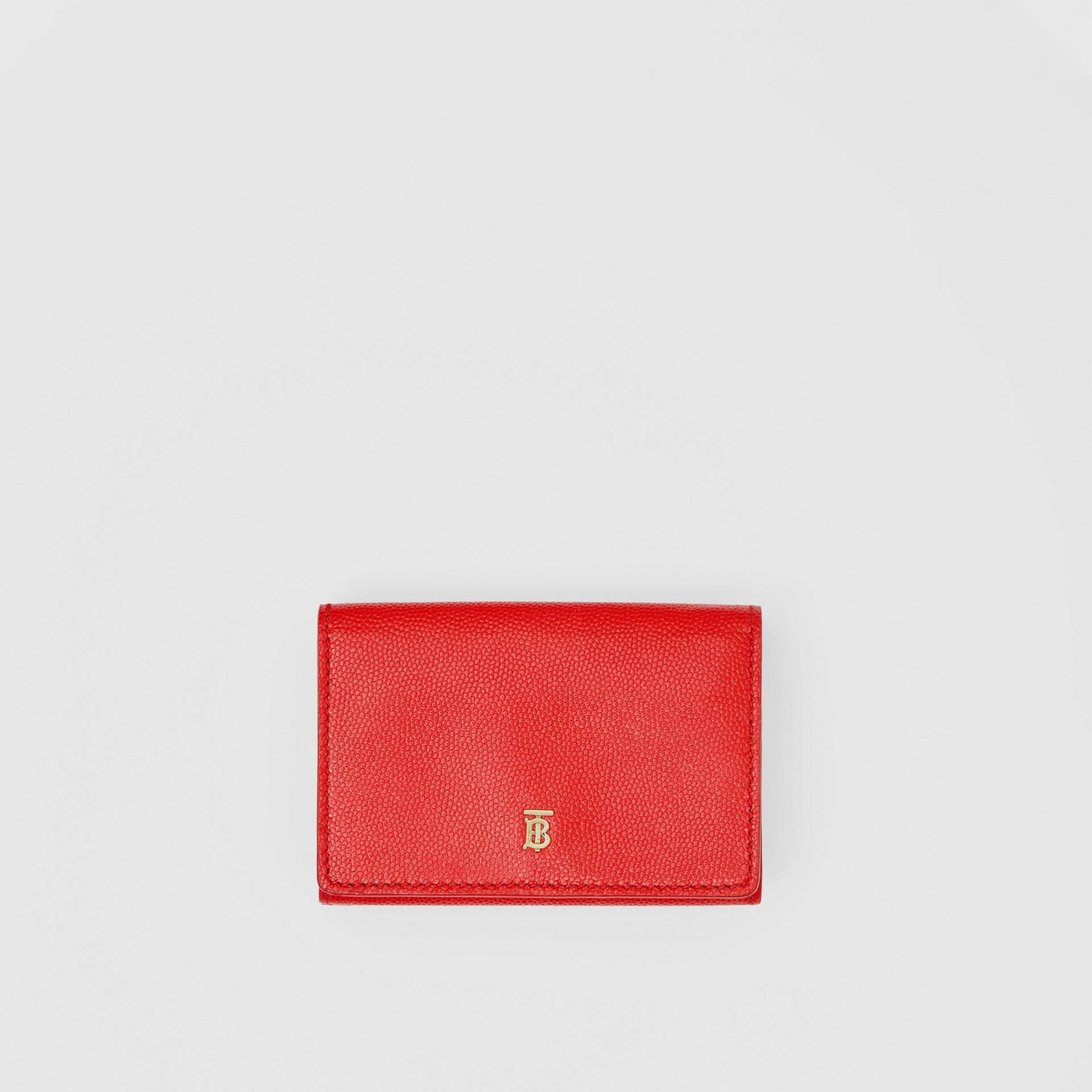 Petit portefeuille à rabat en cuir grainé (Rouge Vif) - Femme | Burberry Canada - photo de la galerie 0