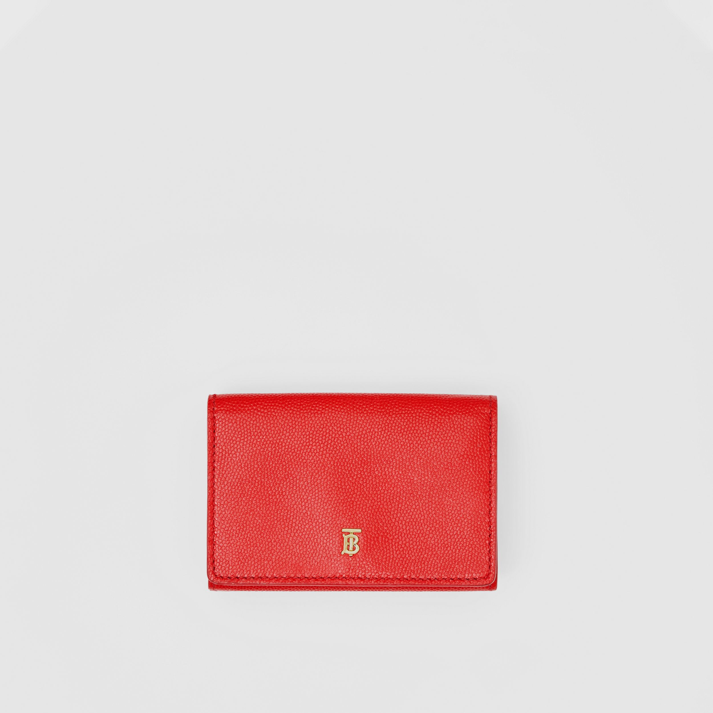 Small Grainy Leather Folding Wallet in Bright Red - Women | Burberry Canada - 1